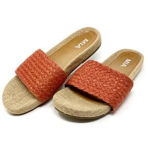 Mia Linara Natural Jute Slide Sandals Size 10